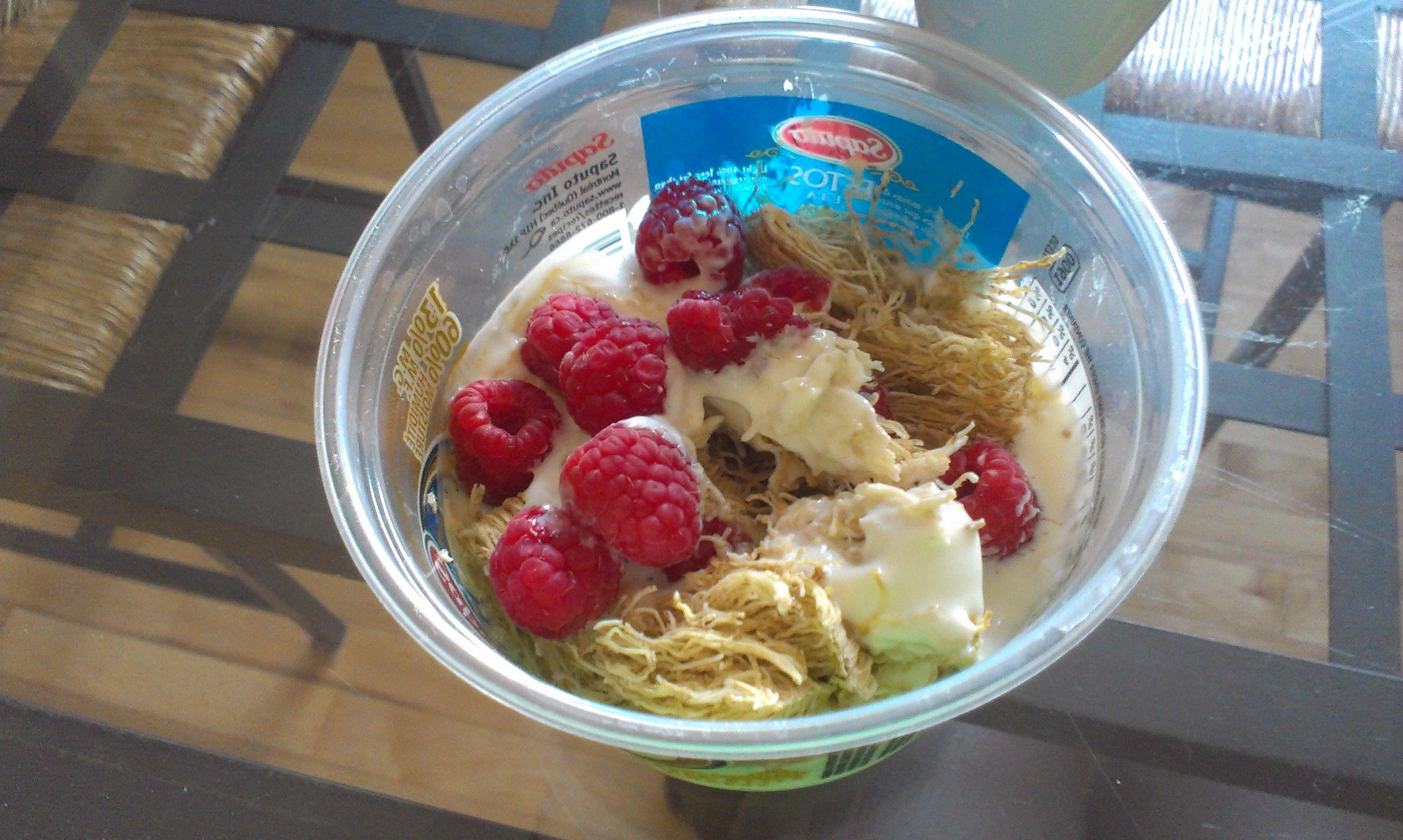 post whole wheat biscuit, raspberries, greek yogurt