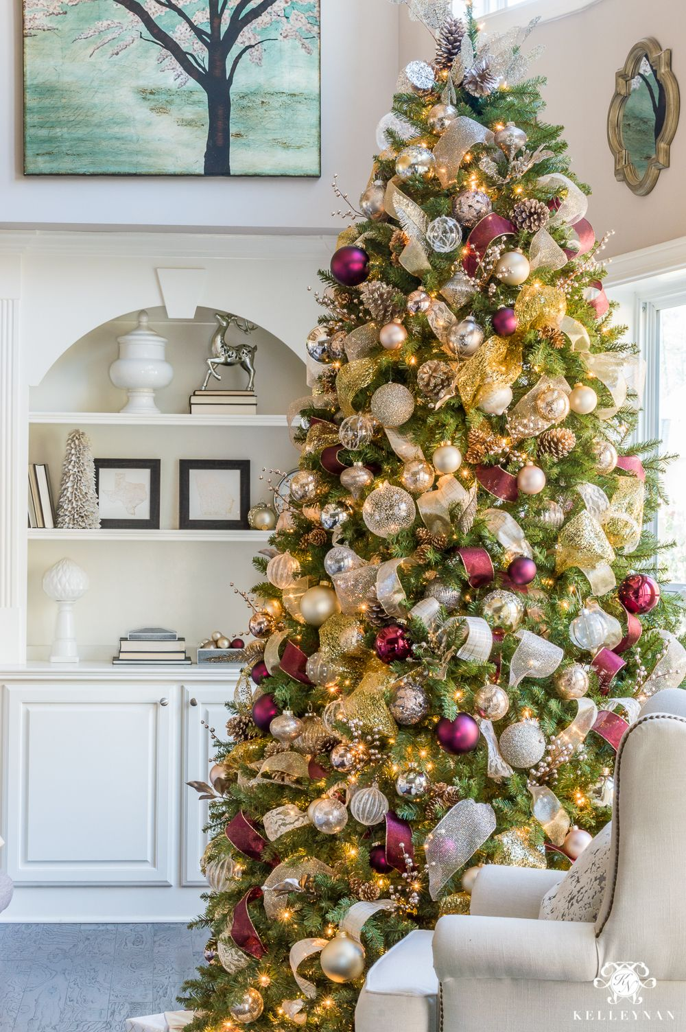 2017 Christmas Home Tour Champagne Wine And Other Christmas Color Schemes Kelley Nan Christmas Colour Schemes Elegant Christmas Trees Red And Gold Christmas Tree