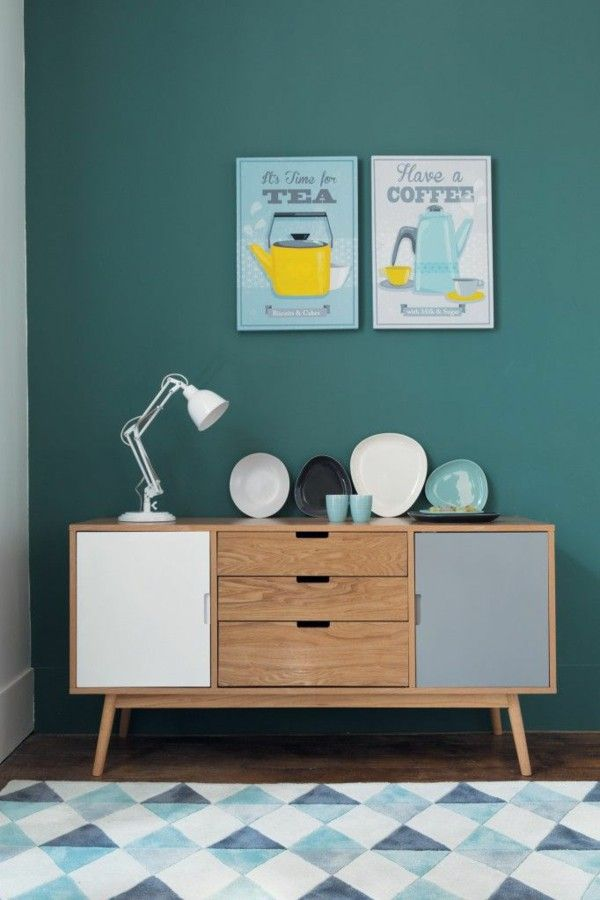Scandinavian furniture In the living room wooden chest of drawers ...