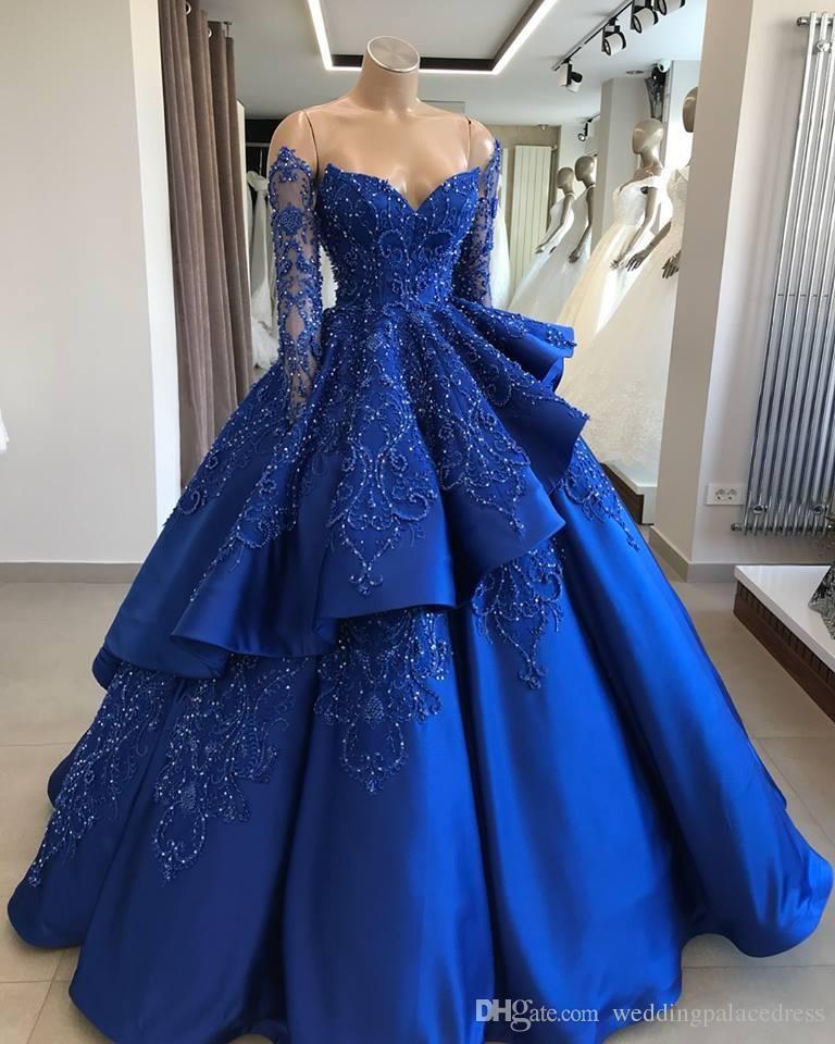 Acheter 2020 Royal Blue Vintage Robe De Bal Quinceanera Robes Encolure Manches Longues Perles Pailletée Vestidos De 15 Anos Doux 16 Prom Robes De 133,59 € Du Weddingpalacedress