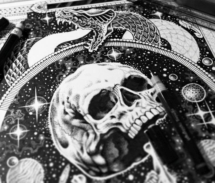 Space skull Ink pen drawing by Sneaky Studios 42x29 2015