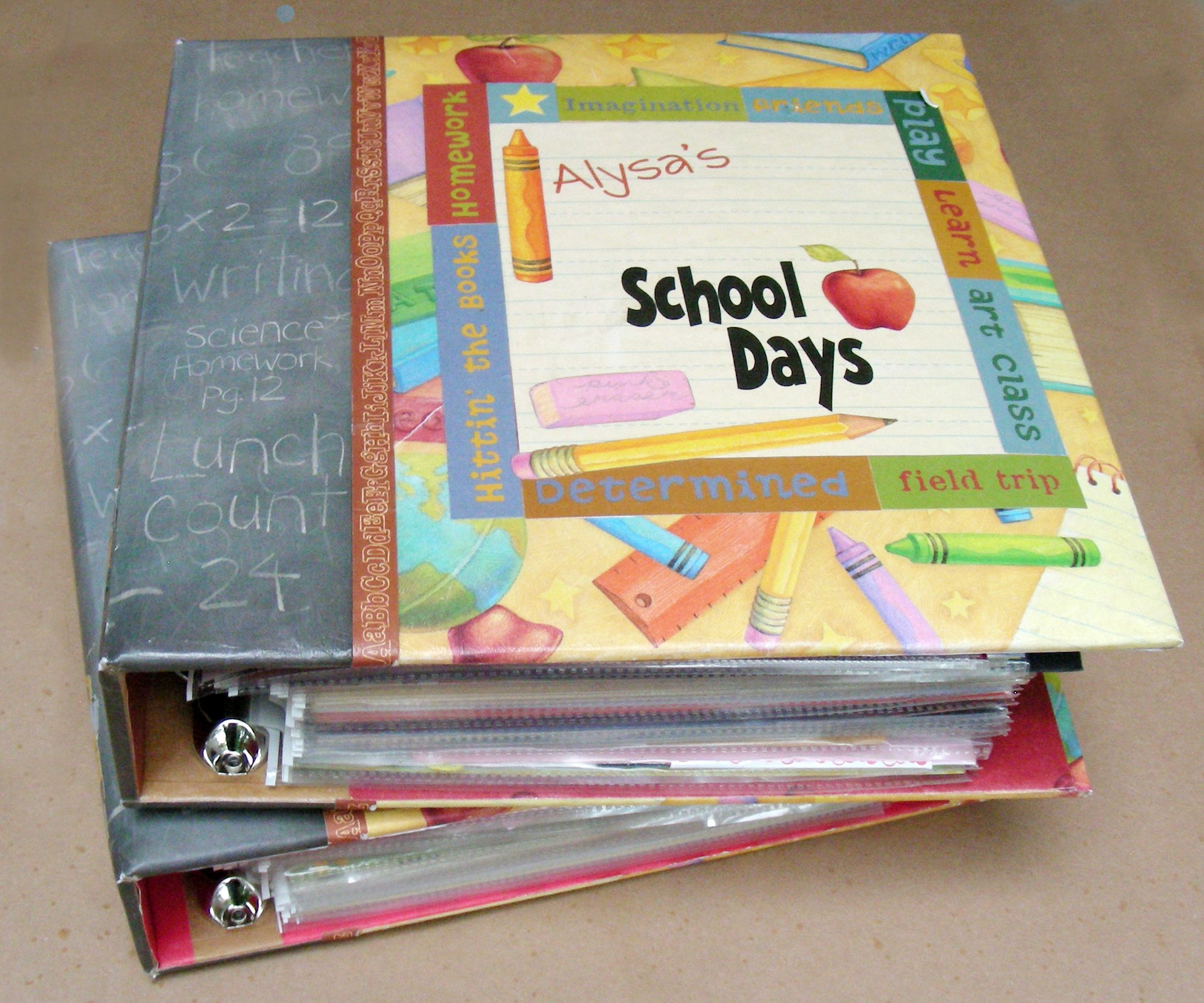 binders for school papers/keepsakes, use clear page ...