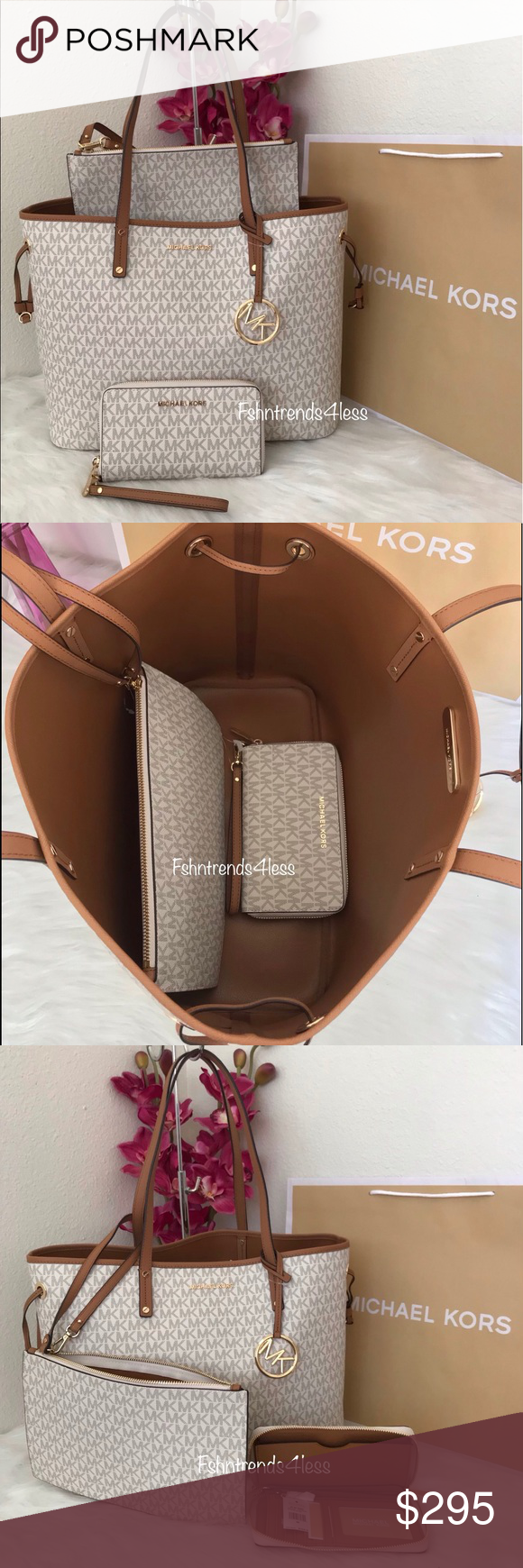 58cd341e1f54c8 ✨💯🆕Michael Kors Large Drawstring Tote & Wallet✨ ✅100% Authentic Brand New  with Tag Michael Kors Jet Set Travel Large Drawstring Tote Color: ...