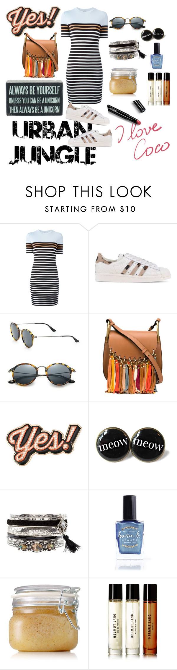 """""""Untitled #84"""" by ana-jg ❤ liked on Polyvore featuring T By Alexander Wang, adidas Originals, Ray-Ban, Chloé, Anya Hindmarch, Lauren B. Beauty, Origins, Chanel, Helmut Lang and Primitives By Kathy"""