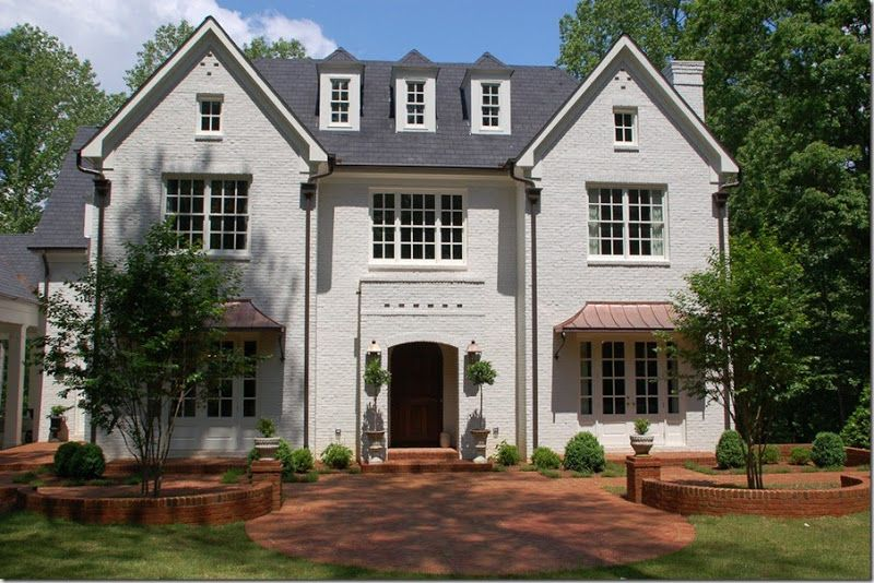 Things That Inspire Painted Brick Houses To Look Like Stucco W Copper Awnings House Ideas