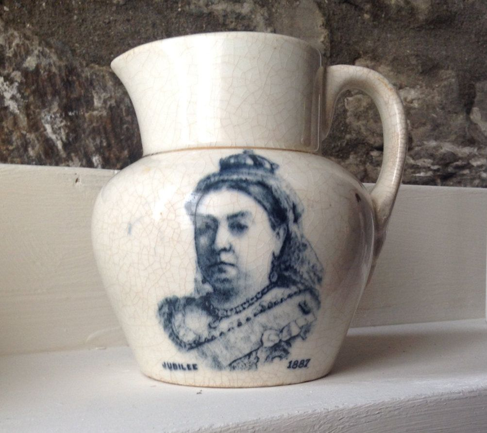Queen Victoria Jug/Genuine Victorian/Blue And White Jug. jubilee 1887 by…