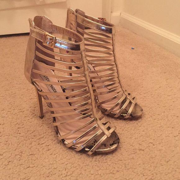 Steve Madden Marnee Metallic Strappy Heels Size 6.5 Steve Madden Shoes Heels