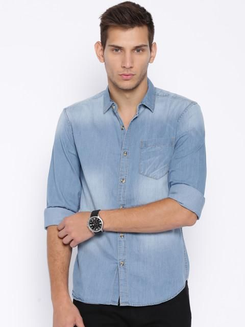 d66c1413d17 Highlander Blue Slim Casual Shirt