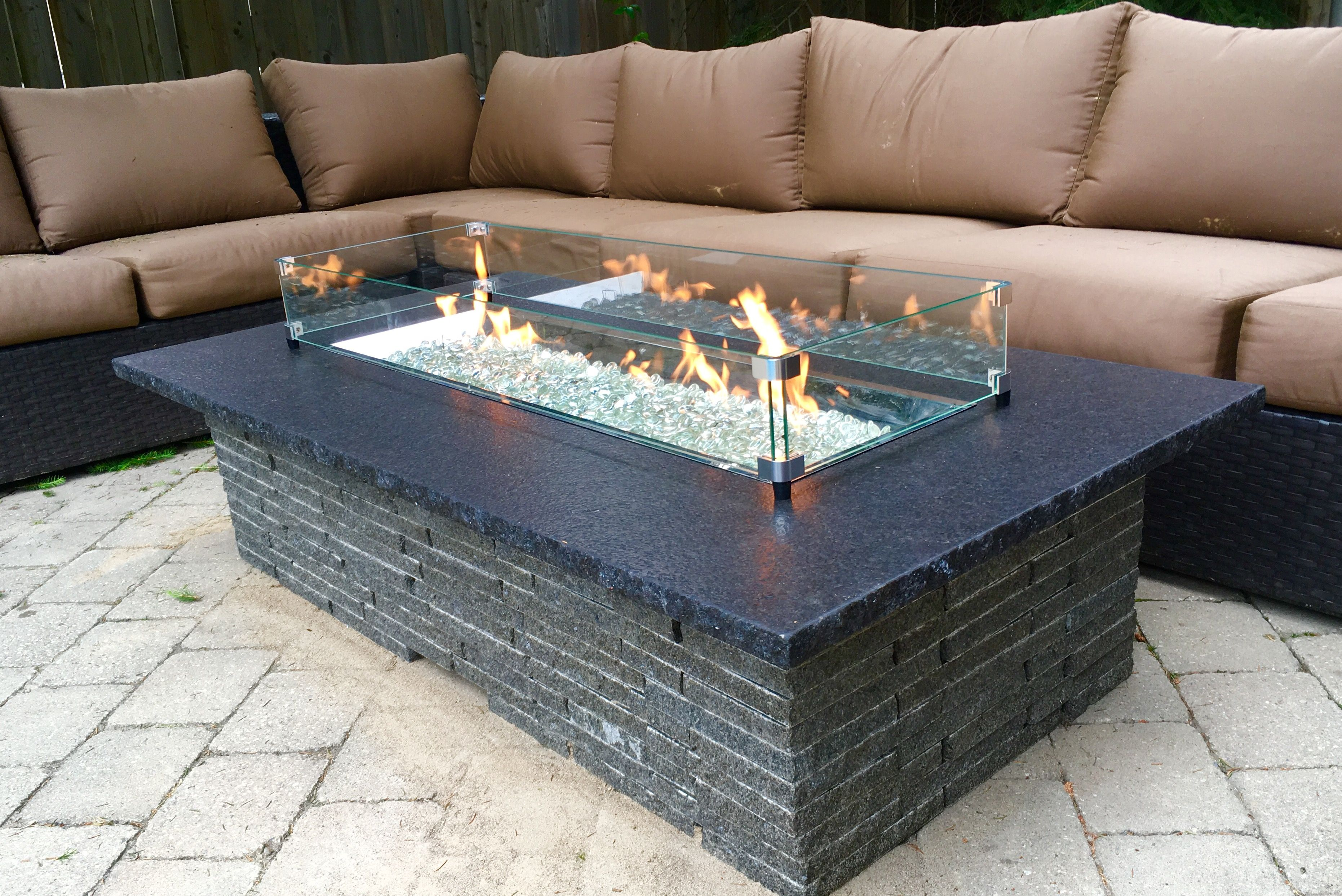Realstone Canada S100 Granite Stone Fire Pit For Lp Or Natural Gas Easy Embly On Wood Deck Firepit