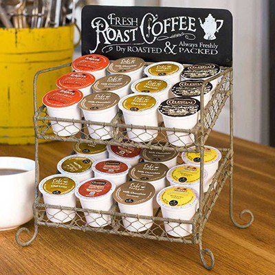 Decor Steals K-Cup® Caddy is a coffee rack that is the perfect kitchen display rack! Use this rack to add a farmhouse touch to any space! For more visit, Decor Steals