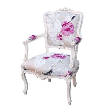 Louis XV Florentine Salon Chair Painted Antique White   The Pink And Purple  Colours Really U0027