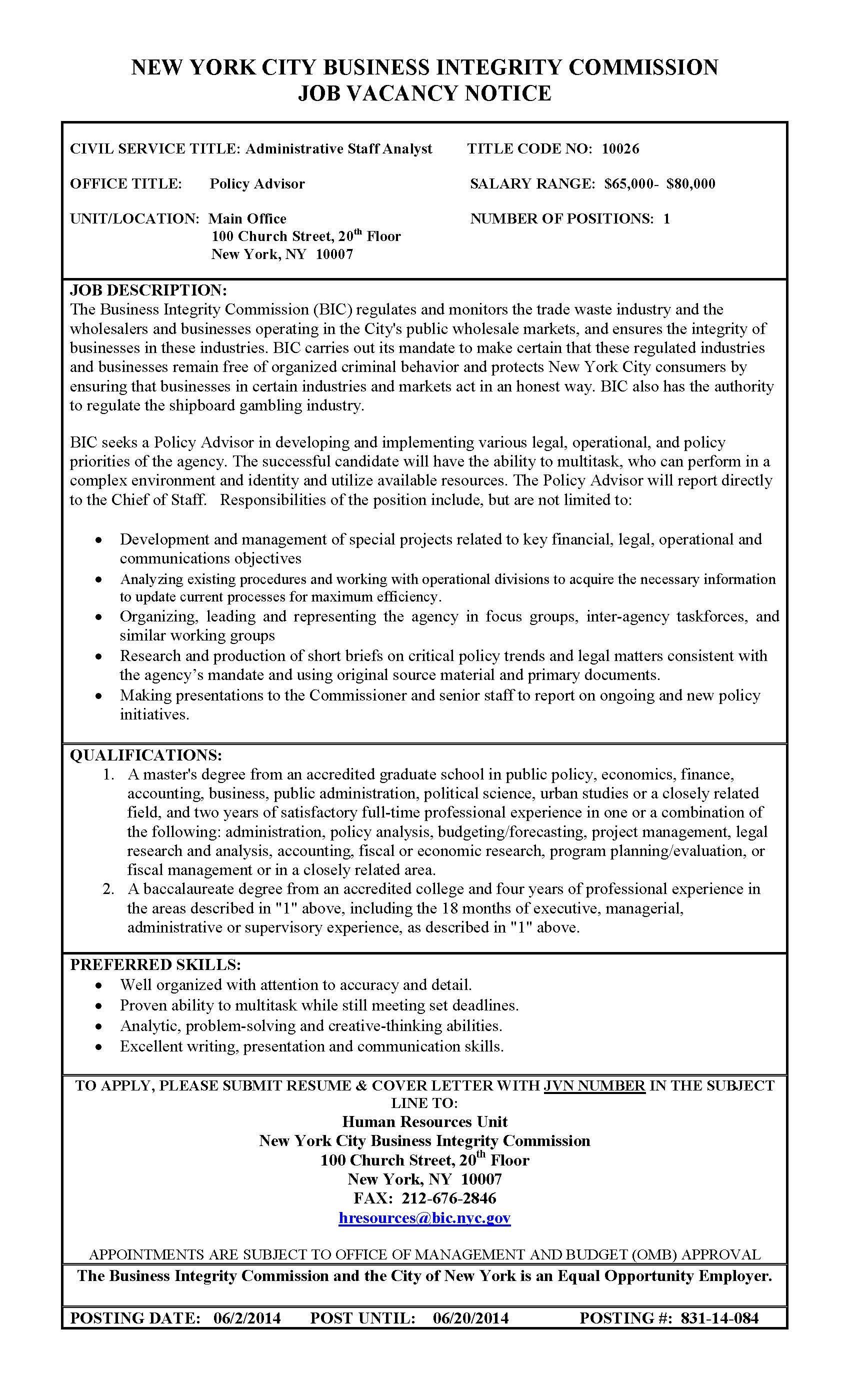 Job Posting Policy Advisor Job Posting Job Advisor