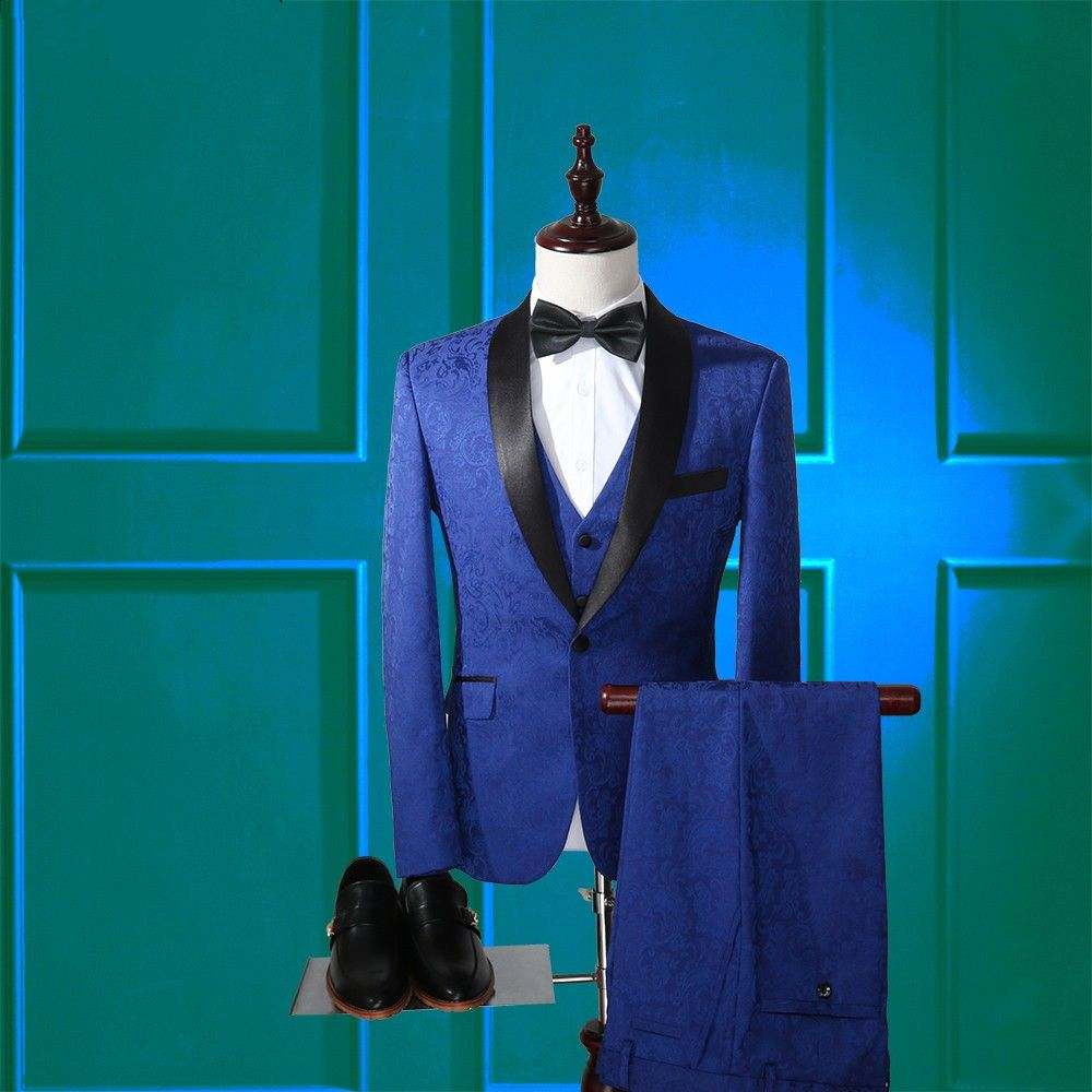 Jacket+Pants+Vest) 2018 High Quality Jacquard Men\'s Suits Blazers ...