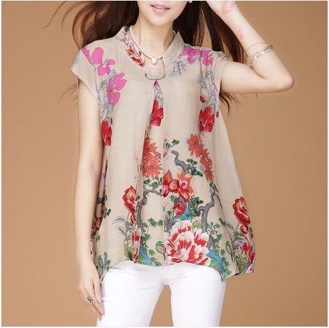 Verano Plus Casual Tamaño XXL Las mujeres floral rosado camisa irregular floja de la blusa, Mujer de cuello de pie Nacional de lino vintage Blusas