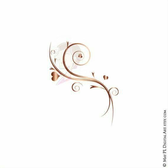flourish clipart rose gold wedding floral heart diy invitation