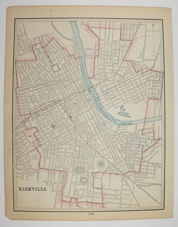 1900 Nashville TN Map, Memphis Tennessee City Street Map Genealogy on