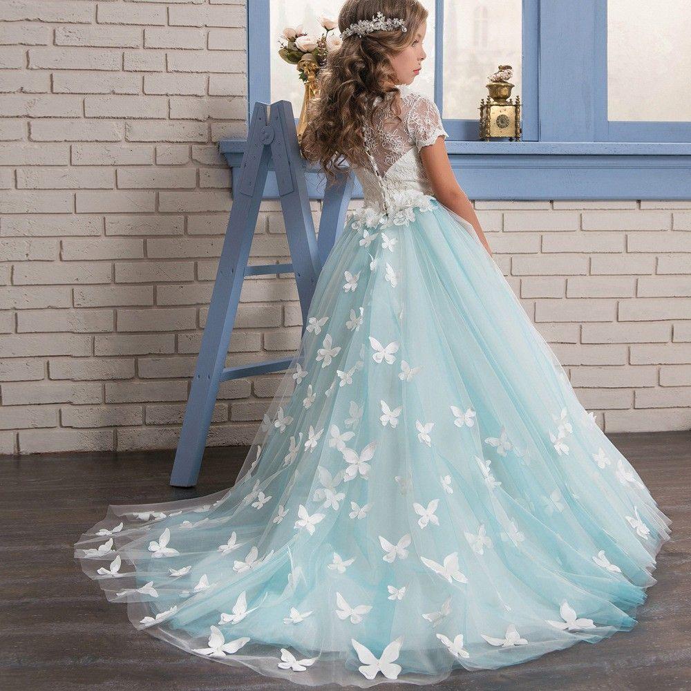Https Fr Aliexpress Com Item Elegant Light Blue Bow Flower Girl Dresses Floor Len Flower Girl Dresses Blue Butterfly Flower Girl Dress Flower Girl Dress Lace