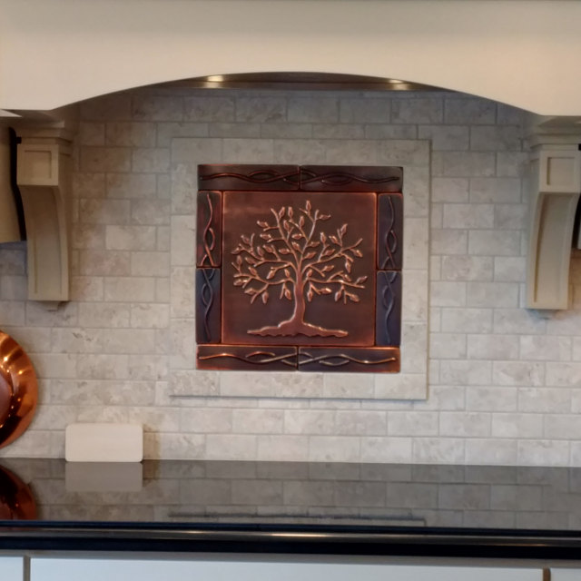 Backsplash Kitchen Tiles Tree Of Life 8 Metal Tiles In 2020 Copper Wall Tiles Copper Tiles Copper Decor