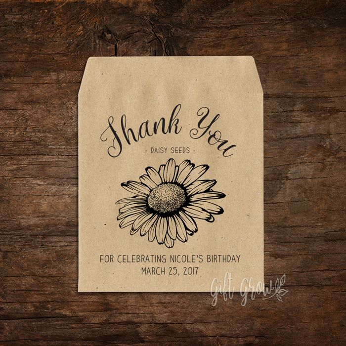 Daisy Seed Packets Thank You Birthday Favour
