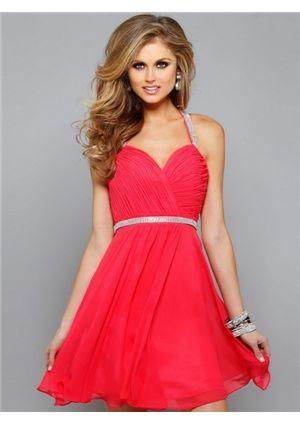 red and white halter short dress
