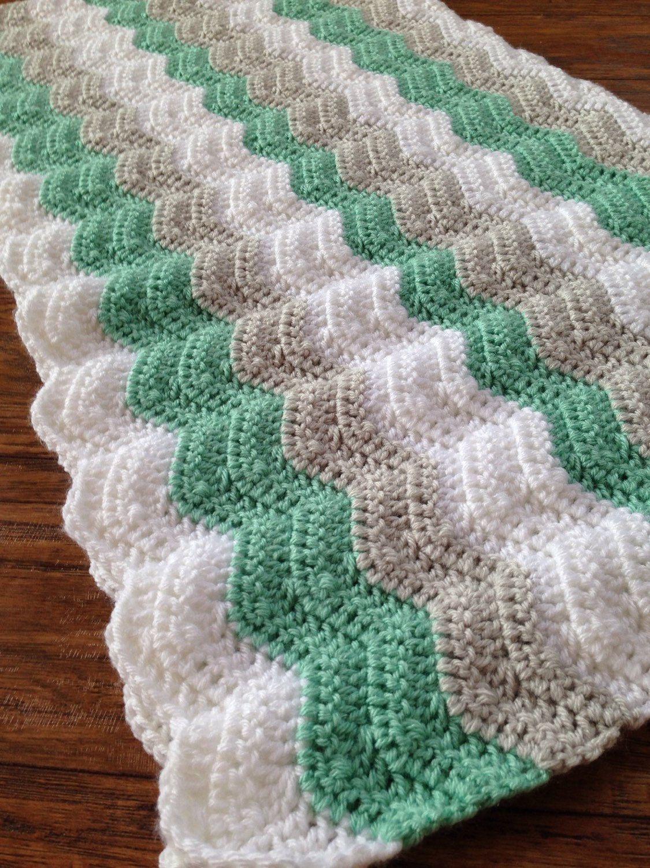 Crochet Baby Blanket Mint And Gray Baby Blanket Ocean