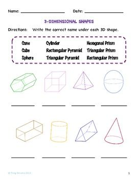 3d Shapes Worksheets 3d Shapes Worksheets Shapes Worksheets Teaching Elementary