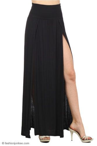 Long Jersey Maxi Skirt with Foldover Waist, Overlapping Double ...