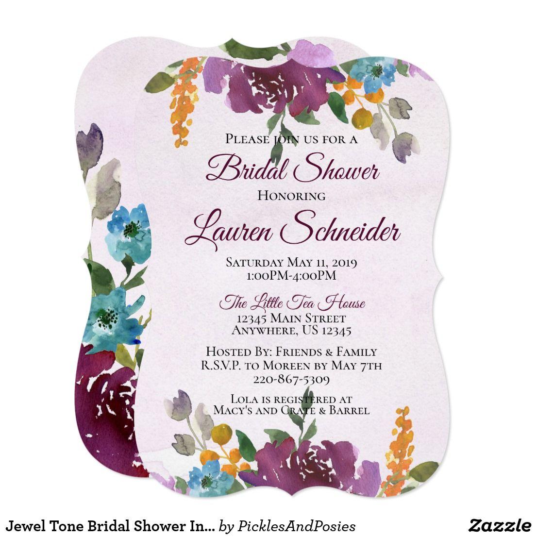 Jewel tone bridal shower invitations watercolor zazzle