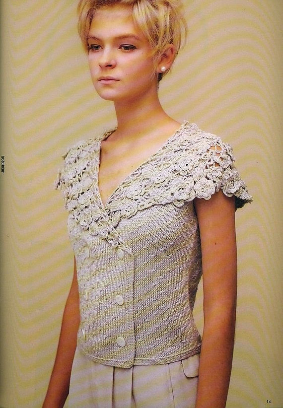 Items similar to Blouse with collar Irish lace Lace top blouse, jacket   crochet handmade , custom made . Shrug Bolero on Etsy #irishlacecrochet