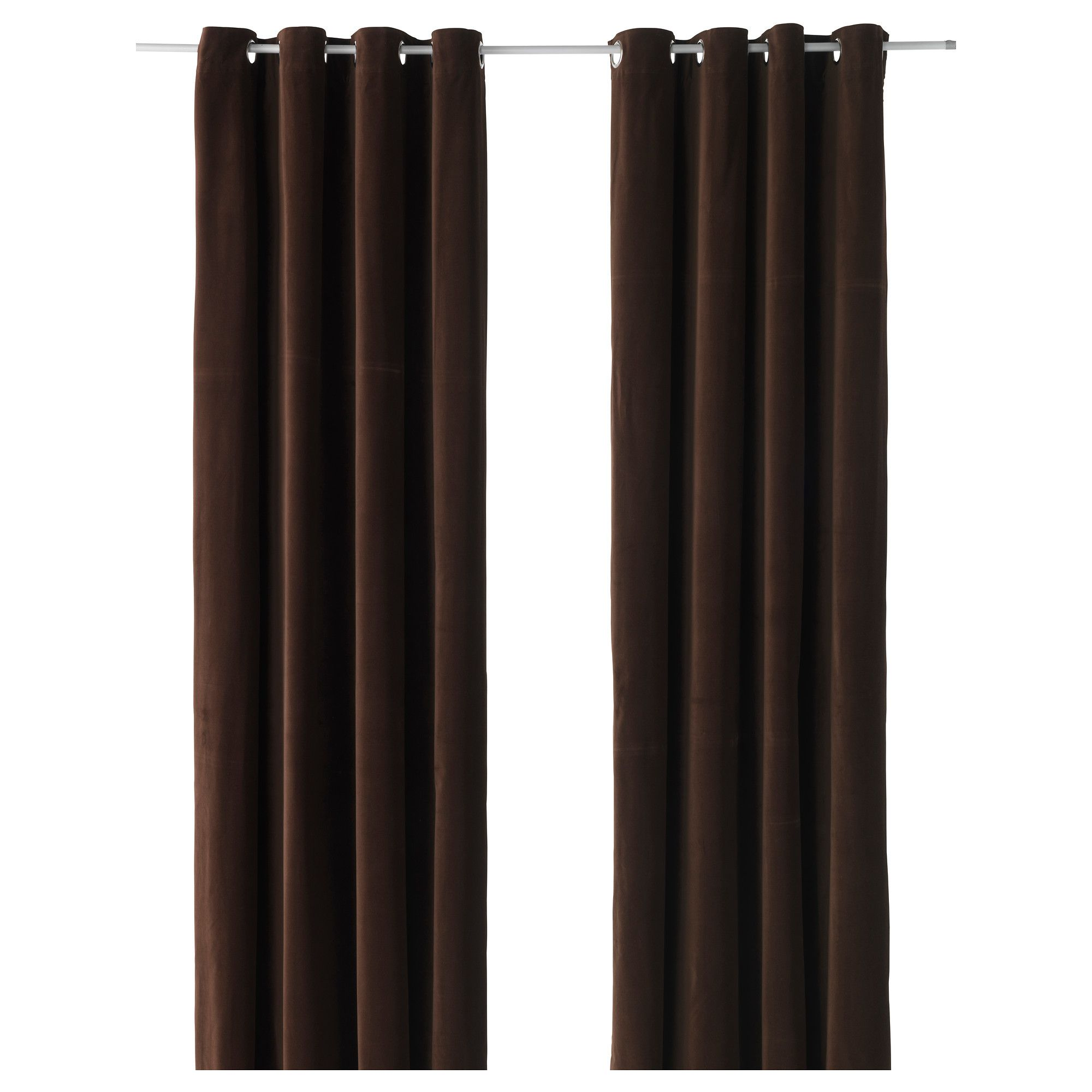 Sanela Curtains 1 Pair Ikea Chocolate Brown Velvet 163 55