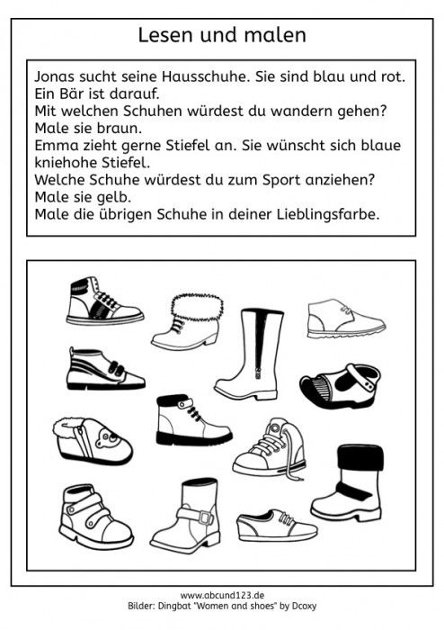 Lesen und malen #freebie | Wortschatz / Vocabulary | Pinterest