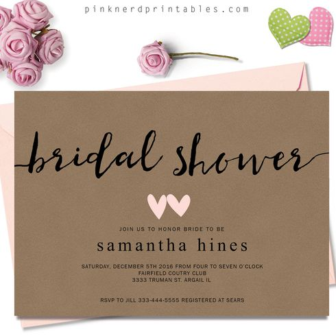rustic modern bridal shower invitation