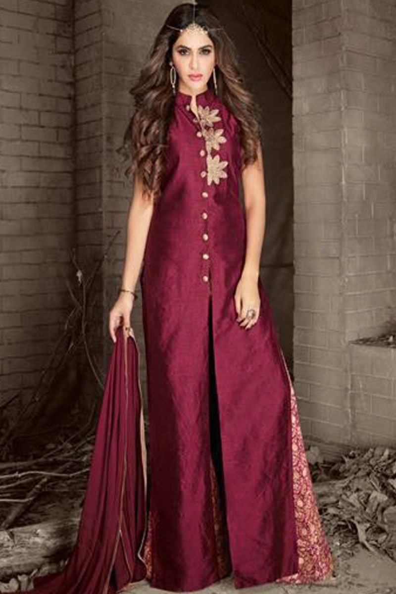 d952a0b157 Gorgeous Wine Color Banarasi Silk Fabric Designer Embroidery Work Festival  Wear Traditional Stylish Look Plazzo Style Wedding Wear Straight Salwar Suit  ...
