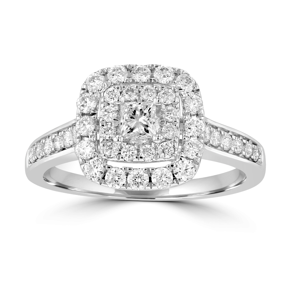 14KT White Gold 1.00 CTW Diamond Halo Bridal Set