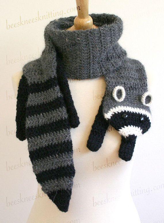 Digital PDF Crochet Pattern for Raccoon Scarf - DIY Fashion Tutorial ...