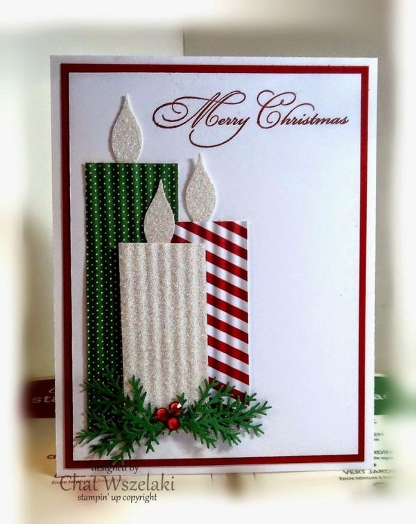 Stampin' Up! ... handmade Christmas card from Me, My Stamps and I ... clean and elegant look ... trio of candles on punched foliage ... luv the corrugated texture ... glitter paper flames ... gorgeous calligraphic font by kindergarden