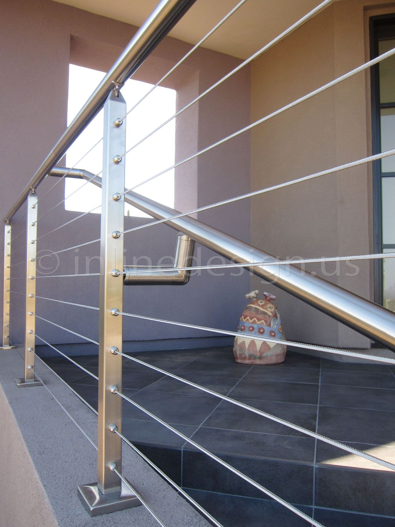 Stainless Steel Cable and Glass Railing ... | Pasamanos ...