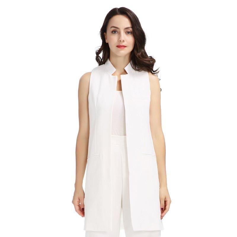 Womens Sleeveless Plus Size Crepe Open Long Waistcoat Pocket Top Ladies Jacket