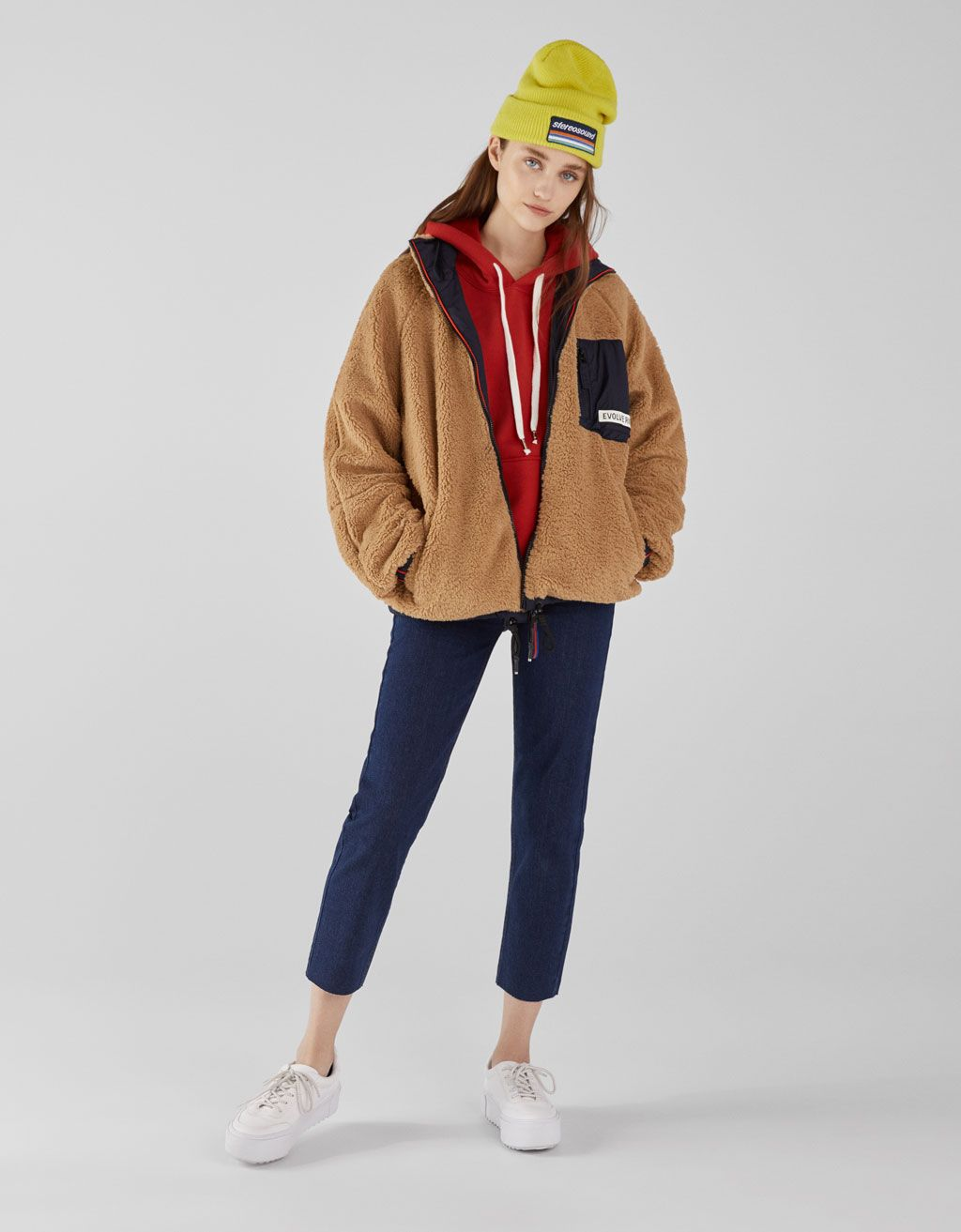 a7877ffae6f Reversible faux shearling and nylon jacket. Discover this and many more  items in Bershka with