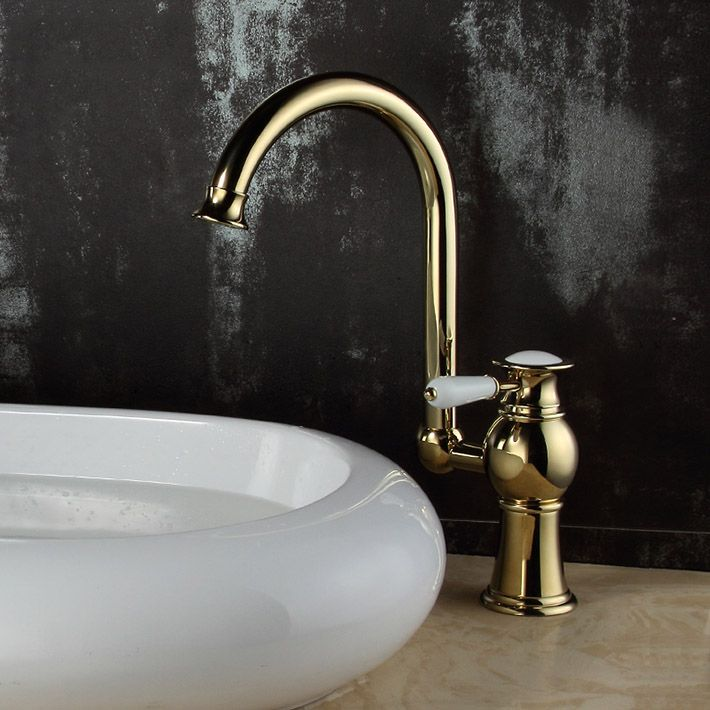 Modern Gold Rotation Type Solid Brass Hot Cold Washing Kitchen Sink Faucet Tap Water Tap Bathroom Sink Taps Kitchen Sink Faucets