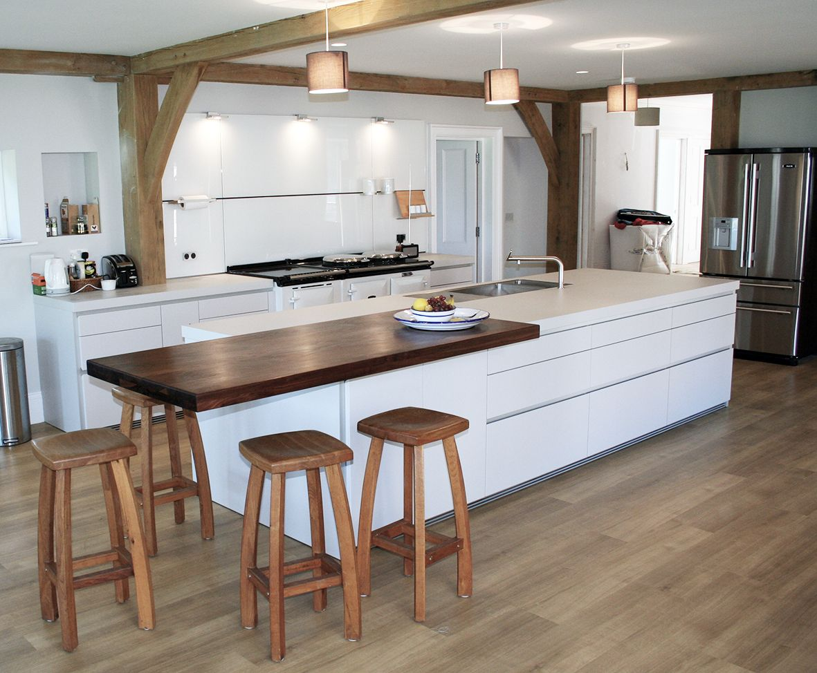White Bulthaup B1 Kitchen With White Aga Oven Exposed Beams And Wooden Bar Stools Comple Contemporary Kitchen Furniture Open Plan Kitchen Contemporary Kitchen