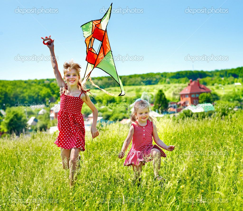 Group children flying kite outdoor - buy this stock photo on Shutterstock &  find other images.