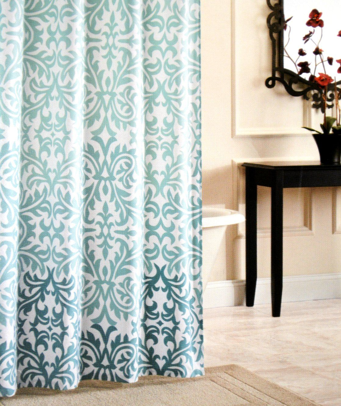 Nicole Miller Fabric Shower Curtain Damask Ombre Aqua Blue Teal Large  Floral Medallion 72 Inch By