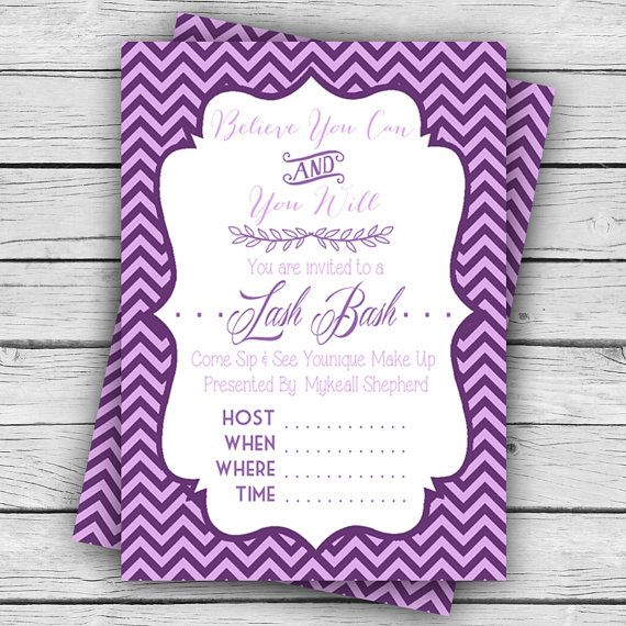 Personalized YOUNIQUE PARTY Invite, MASCARA Party, Custom Invites - fresh younique gift certificate template