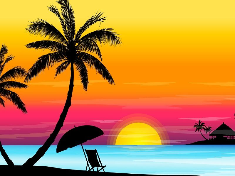 Tropical Sunset Vector HD Wallpaper on MobDecor...http://www.mobdecor.com/b2b/wallpaper/221803-tropical-sunset-vector