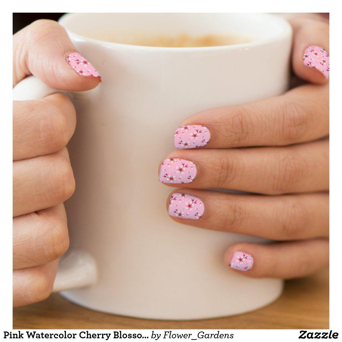 Pink Watercolor Cherry Blossom Pattern Minx Nail Art | Zazzle.com