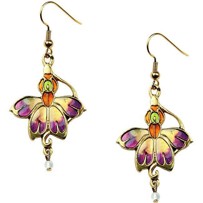 Lead-free Pewter and Enamel Summer Blossom Shepherd's Hook Earrings, Women's