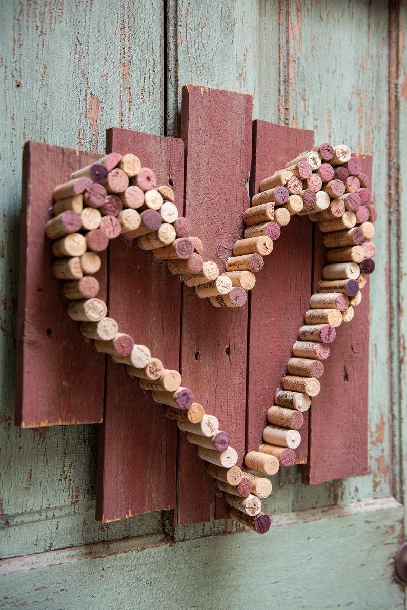 Wine Cork Heart On Barnwood Etsy In 2020 Wine Cork Art Wine Cork Diy Crafts Cork Wreath Diy