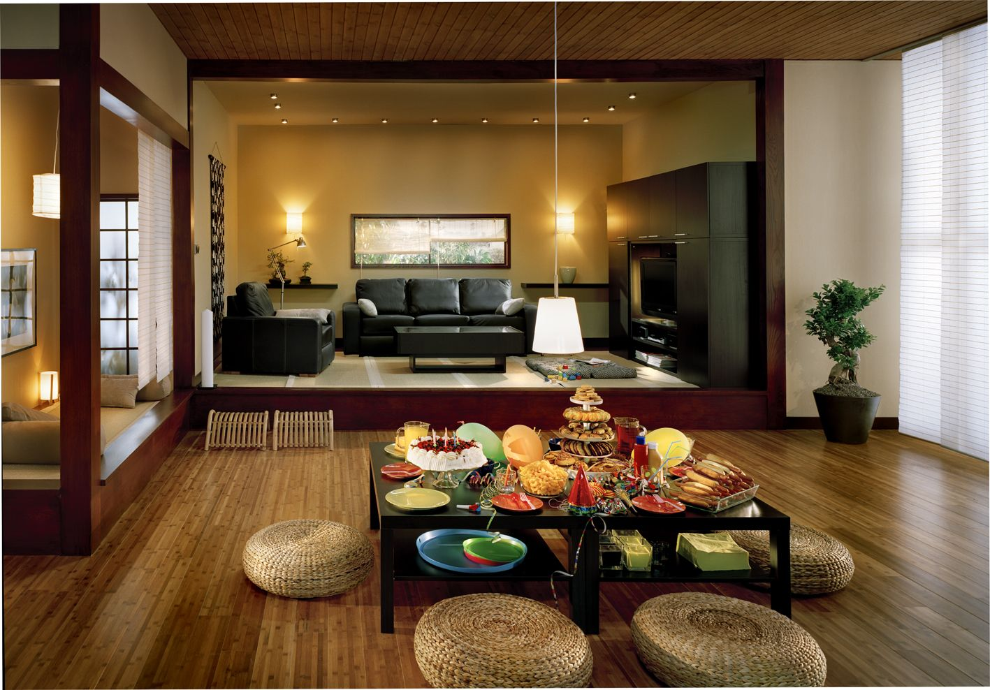 Low Dining Table Ideas for Home Decor : Japanese Style Low Wooden Dining  Table And Rattan Seating Also Pendant Lamp