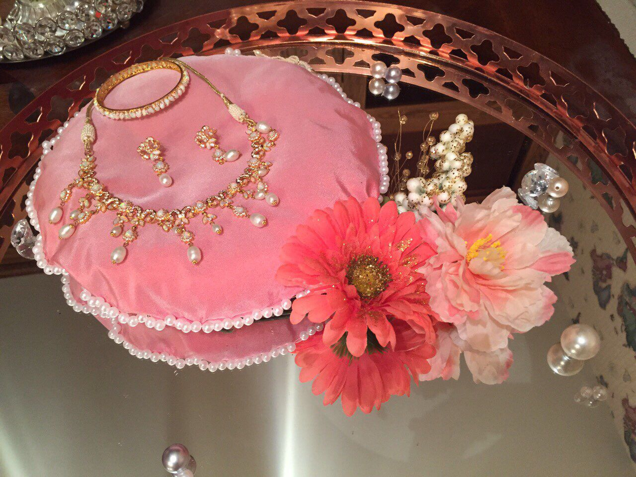 Jewellery dala for the bride. Hand sewn pillow and DIY flower and ...